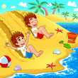 Twins are playing on the beach. — Stock Vector