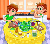 Twins are preparing a green salad. — Stock Vector