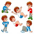 Boy in different poses and expressions. — Stock Vector