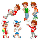 Boy in different poses and expressions. — Stockvector