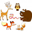 Wood Animals. - Stock Vector