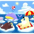 ストックベクタ: Summer or Winter at the North Pole.
