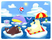 Summer or Winter at the North Pole. — Stock Vector