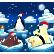 Stock Vector: Christmas at the North Pole.