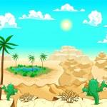 Постер, плакат: Desert with oasis