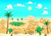 Desert with oasis. — Stock Vector