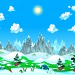 Landscape with snow and mountains. — Stock Vector