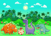 Funny dinosaurs in the forest. — Stock Vector
