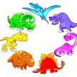 Dinosaurs rainbow. — Stock Vector
