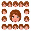Girl expressions with lip sync - Stock Vector