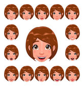 Girl expressions with lip sync — Stock Vector