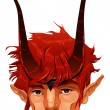 Stock Vector: Mythological demon head.