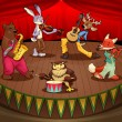 Musician animals on stage. - Stock Vector