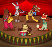 Musician animals on stage. — Stockvektor