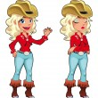 Cowgirl expressions — Stock Vector