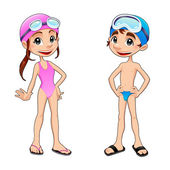 Boy and girl ready to swim. — Stock Vector
