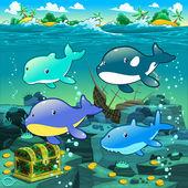 Seascape with treasure, galleon and fish. — Stock Vector