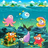 Seascape with treasure, galleon and fish — Stock Vector