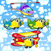 Cartoon airplanes and helicopter in the sky. — Stock Vector