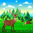 Deer in mountain landscape. — Stock Vector