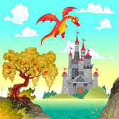 Fantasy landscape with castle and dragon. — Stock Vector