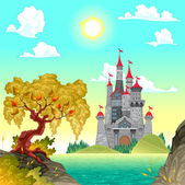 Fantasy landscape with castle. — Stock Vector