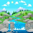 Mountain landscape with river. — Stock Vector #32643129