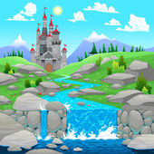 Mountain landscape with river and castle. — Stock Vector