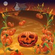Pumpkins in the field. — Stock Vector
