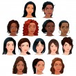 Indian, black, asian and latino women.  — Stock Vector