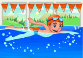 Young swimmer in the swimming pool. — Stock Vector