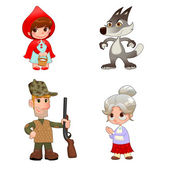 Little Red Hiding Hood's characters. — Stock Vector