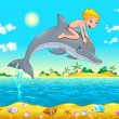 The boy and the dolphin in the sea. — Imagens vectoriais em stock