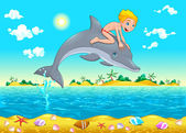 The boy and the dolphin in the sea. — Stock Vector