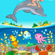 Boy and dolphin with fish unde the sea. — Stock Vector