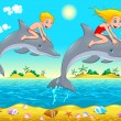 Boy, girl and dolphin in the sea. — Stock Vector