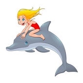 Girl and the dolphin. — Stockvector