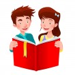Boy and girl are reading a book. — Stock Vector