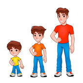 Child, boy and man, description of age. — Stock Vector