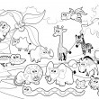 Savannah animal family with background in black and white. — Stock Vector #38880933