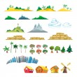 Set of trees, mountains, hills, islands and buildings. — Stock Vector #41181825