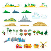 Set of trees, mountains, hills, islands and buildings. — Stock Vector