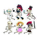 Group of funny skeletons. — Stockvector