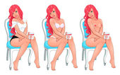 Beautiful woman in three versions, dressed and naked. — Stock Vector