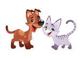 Krásná kočka a pes. — Stock vektor