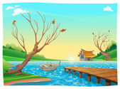 Lake with boat.  — Stock Vector