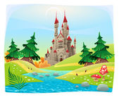 Mythological landscape with medieval castle. — Stock Vector