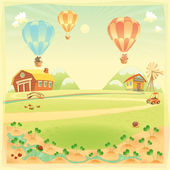 Funny landscape with farm and hot air baloons — Stock Vector