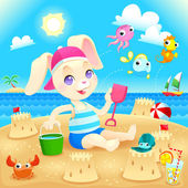 Young rabbit makes castles on the beach.  — Stock Vector