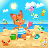 Young cat makes castles on the beach.  — Stock Vector